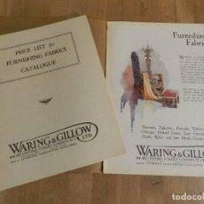 Catálogos publicitarios: ANTIGUO CATÁLOGO DISEÑO MUEBLE WARING & GILLOW LTD CIRCA 1900 ORIGINAL COMPLEMENTO TELAS PARA MUEBLE. Lote 241199010