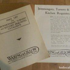 Catálogos publicitarios: ANTIGUO CATÁLOGO DISEÑO MUEBLES WARING & GILLOW LTD CIRCA 1900 ORIGINAL COMPLEMENTOS CHIMENEA COCINA. Lote 241200890
