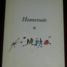 Catalogues publicitaires: PROGRAMA HOMENAJE A MIRO, GALERIA THEO DE MADRID, INTERVINIERON JOAN BROSSA, CAMILO JOSE CELA, CARLO. Lote 241671745