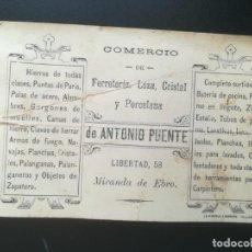Catalogues publicitaires: MIRANDA DE EBRO, BURGOS. COMERCIO FERRETERÍA, LOZA ,CRISTAL, PORCELANA. ANTONIO FUENTE, LIBERTAD 58. Lote 243855325