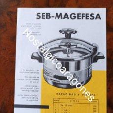 Catalogues publicitaires: FOLLETO PUBLICIDAD MAGEFESA CAFETERA Y OLLA A PRESION AÑOS 60. Lote 244399890
