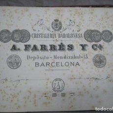 Catálogos publicitarios: A. FARRES Y CIA. CRISTALERIA BADALONESA. BADALONA. 1882-1883-1887. ALBUM CATALOGO. Lote 244527550