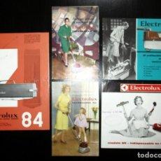Catálogos publicitarios: CINCO CATÁLOGOS Y HOJAS PUBLICITARIAS DE ASPIRADORES Y ENCERADORAS ELECTROLUX. AÑOS 60.. Lote 244934710