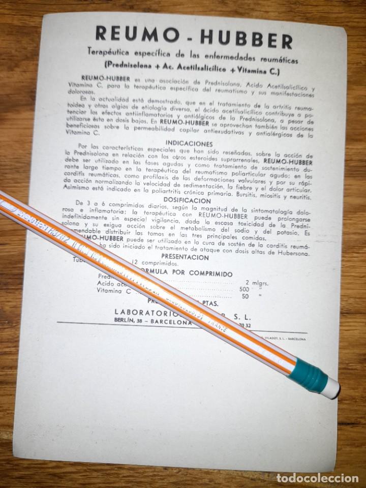 Catálogos publicitarios: Publicidad antigua Reumo Hubber años 40 o 50 ? Laboratorios Hubber de Barcelona - Foto 2 - 246083175