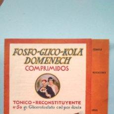 Catálogos publicitarios: FOLLETO DIPTICO DE PROPAGANDA -DE FARMACIA-FOSFO-GLICO-KOLA-DOMENECH. Lote 246439830