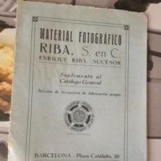 Catálogos publicitarios: CATALOGO PUBLICITARIO , MATERIAL FOTOGRÁFICO RIBA , SUPLEMENTO AL CATALOGO GENERAL 1918. Lote 250221155