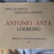 Catálogos publicitarios: CATALOGO PUBLICITARIO , FABRICA DE MUEBLES, ANTONIO ANTA , LOGROÑO, 1922. Lote 250221690