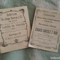 Catálogos publicitarios: CATÁLOGOS DE VALLADOLID , 1911 , PRECIOS ,. Lote 251055355
