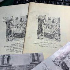 Catálogos publicitarios: 2 CARTAS RESTAURANTE CASA BOTÍN DE LOS AÑOS 60 / 70 - CASA FUNDADA 1725-. Lote 251327965