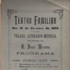 Catálogos publicitarios: PROGRAMA DEL TEATRO FAMILIAR DE BARCELONA 16-10.1898 - LOS DOS CIEGOS. Lote 254602900