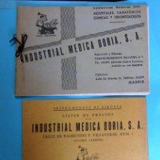 Catálogos publicitarios: INDUSTRIAL MÉDICA DORIA S.A. CATÁLOGO Y LISTÍN DE PRECIOS, HOSPITALES, CLÍNICAS, ETC. S/F.. Lote 254810930