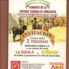 Catálogos publicitarios: INVITACIÓN: FOMENTO DE LA CULTURA DE ANDALUCÍA. PATROCINA: ARROCERIAS HERBA. (P/D51). Lote 254944725