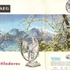 Catalogues publicitaires: AEG - CATALOGO CON IMAGENES E INFORMACION DE DISTINTOS TIPOS DE VENTILADORES - AÑO 1964 - DIPTICO. Lote 255324335