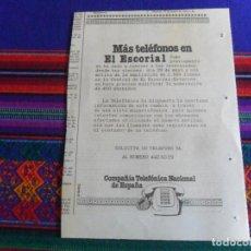 Catálogos publicitarios: PUBLICIDAD PERIÓDICO COMPAÑÍA TELEFÓNICA NACIONAL DE ESPAÑA, MÁS TELÉFONOS EN EL ESCORIAL. 1982.. Lote 256153420