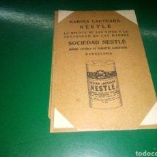 Catálogos publicitarios: ANTIGUA Y MUY RARA PUBLICIDAD HARINA LACTEADA NESTLÉ. PRINCIPIOS SIGLO XX GATO CON SOMBRAS. Lote 257980940