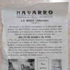 Catálogos publicitarios: HOJA PUBLICITARIA FÁBRICA DE HIELO Y REFRESCOS NAVARRO. LA RODA, ALBACETE. 1958.. Lote 260078525