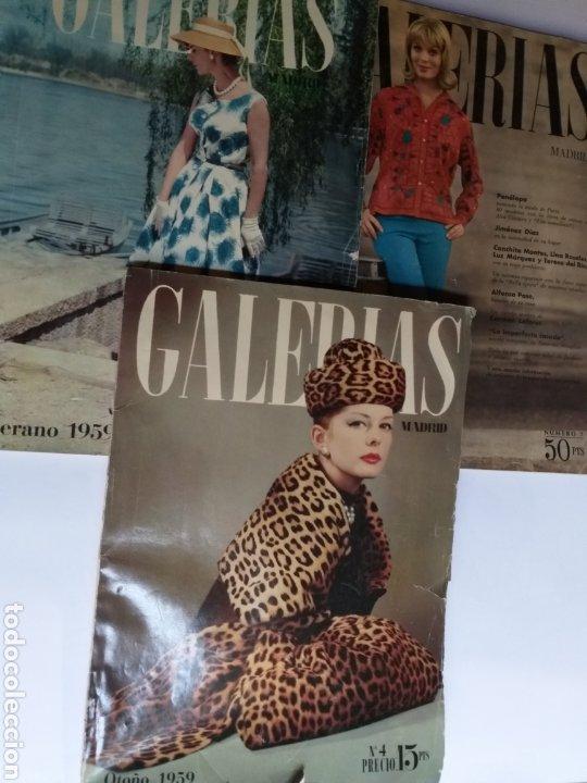 REVISTA GALERÍAS .VERANO 1959 ,VERANO 1960 ,Y OTOÑO 1959 . REVISTAS HISTORIA PATRONAJE MODA . (Coleccionismo - Catálogos Publicitarios)