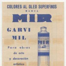 Catálogos publicitarios: CATÁLOGO DE COLORES AL ÓLEO MARCA MIR. TIPOS DE COLORES Y LISTA DE RECIOS (1967). Lote 262779725