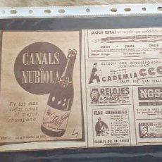 Catálogos publicitarios: PUBLICIDAD-HOJA RECORTE PRENSA-25X16CM-CANALS&NUBIOLA. Lote 263741120