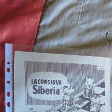 Catálogos publicitarios: PUBLICIDAD-HOJA RECORTE PRENSA-29X21CM-LA CONSERVA SIBERIA. Lote 263741850