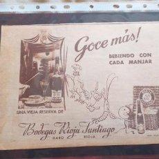 Catálogos publicitarios: PUBLICIDAD-HOJA RECORTE PRENSA-24X18CM-BODEGAS RIOJA SANTIAGO-HARO-RIOJA. Lote 263742190