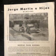 Catalogues publicitaires: DÍPTICO JORGE MARTÍN E HIJOS, ALAEJOS. NORIAS PARA RIEGOS. Lote 263884480
