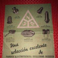 Catálogos publicitarios: GUILLERMO NIESSEN - RENTERÍA ( GUIPUZCOA ) - HOJA PUBLICITARIA - AÑOS 40 - FÁBRICA ELECTROTÉCNICA. Lote 267713639