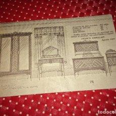Catálogos publicitarios: MUEBLES RAFAEL RIPOLL - VALENCIA - POSTAL PUBLICITARIA DE UN DORMITORIO - AÑO 1927. Lote 267714364
