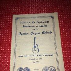 Catálogos publicitarios: FÁBRICA DE GUITARRAS, BANDURRIAS Y LAUDES - AGUSTÍN GASPAR CEBRIAN - VALENCIA - LISTA DE PRECIOS. Lote 267718864