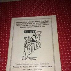 Catálogos publicitarios: CATALOGO TALLERES SANZ - VALENCIA-PUERTO - BALANZAS, ARCAS, MAQUINARIA - AÑOS 20. Lote 267828544