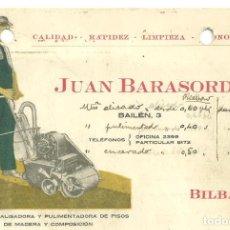 Catálogos publicitarios: C3.- BILBAO-TARJETA DE PUBLICIDAD DE JUAN BARASORDA DE MAQUINA PULIDORA DE SUELOS DE MADERA. Lote 268407889