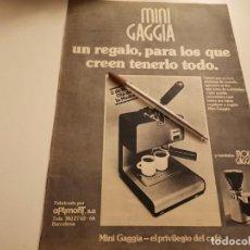 Catálogos publicitarios: CAFETERA MINI GAGGIA REVERSO COLONIA HOMBRE NAPOLEÓN JUPER ANUNCIO PUBLICIDAD REVISTA 1974. Lote 268786194