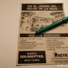 Catálogos publicitarios: CHALETS ADOSADOS JARDÍN DEL SECAR DE LA REAL PALMA DE MALLORCA ANUNCIO PUBLICIDAD PERIÓDICO 1988. Lote 268998494
