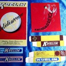 Catálogos publicitarios: KUELIN. ANTIDIARREICO. PUBLICIDAD: CONJUNTO LOTE DE ARTE FINAL, MAQUETAS Y PRUEBAS. 1950'S. Lote 269832298