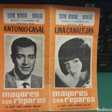 Catálogos publicitarios: PROGRAMA DE TEATRO . BADAJOZ TEATRO MENACHO 1965. Lote 277289658