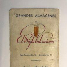 Catálogos publicitarios: TARJETA PUBLICITARIA. EL SIGLO VALENCIANO. GRANDES ALMACENES.. (H.1950?). Lote 277306073