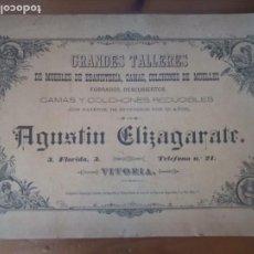 Catálogos publicitarios: ANTIGUO CATÁLOGO SOMIERES CAMAS Y COLCHONES ELIZAGARATE VITORIA 1891. Lote 277477248