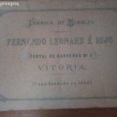 Catálogos publicitarios: ANTIGUO CATÁLOGO MUEBLES VITORIA LEONARD E HIJO. Lote 277478758