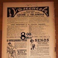 Catálogos publicitarios: ANUNCIO - HOJA - PUBLICIDAD. VASCONCEL ; MAGNESIA ROLY ; SENOS PILULES ORIENTALES ; PILAS SECAS COLU. Lote 277834083