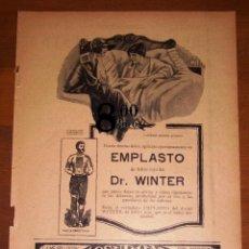 Catálogos publicitarios: ANUNCIO - HOJA - PUBLICIDAD. EMPLASTO DR. WINTER ; FONÓGRAFO QUILLET ; RUOL, DEPILATORIO VIRGEN.... Lote 277834468