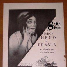 Catálogos publicitarios: ANUNCIO - HOJA - PUBLICIDAD. EL JABÓN HENO DE PRAVIA... SUAVIZA LA CARA / PERFUMERÍA GAL. - 1924. Lote 277835093