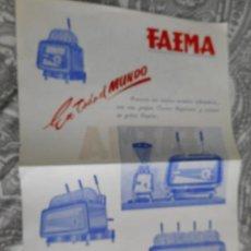 Catalogues publicitaires: ANTIGUA PUBLICIDAD.CAFETERAS FAEMA.URANIA.BARCELONA.. Lote 278416768