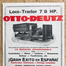 Catalogues publicitaires: LAMINA PUBLICIDAD VAGONETA LOCO-TRACTOR 7/8 HP OTTO-DEUTZ (MADRID) FERROCARRIL - LOCOMOTORA. Lote 278470258
