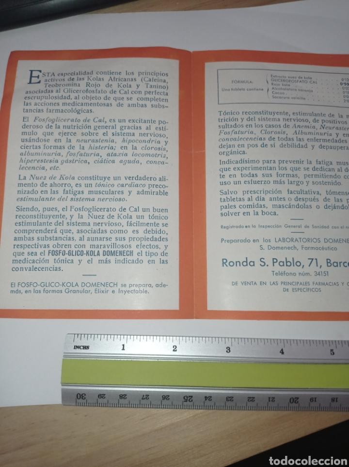Catálogos publicitarios: Publicidad Fosfo glico kola Domènech. Años 10. Reconstituyente. Folleto - Foto 3 - 278694268