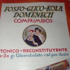Catálogos publicitarios: PUBLICIDAD FOSFO GLICO HOLA DOMÈNECH. AÑOS 20. RECONSTITUYENTE. FOLLETO. Lote 278694268