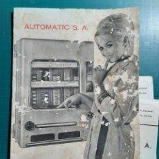 Catalogues publicitaires: CATALOGO AUTOMATIC S.A. / MAQUINAS EXPENDEDORAS Y RECREATIVAS AÑOS 60. Lote 278878493