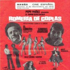 Catálogos publicitarios: FOLLETO ESPECTACULO ROMERIA DE COPLAS PEPE NUÑEZ-EL LOREÑO-GABRIEL MORENO ETC. -1978.. Lote 279821293