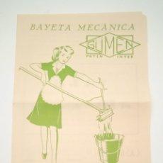 Catálogos publicitarios: ANTIGUA PUBLICIDAD BAYETA MECÁNICA GÜMEN - FREGONAS - VER FOTOS. Lote 285408513