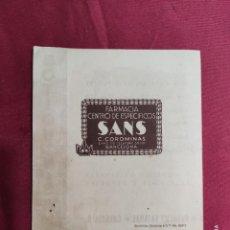 Catálogos publicitarios: ANTIGUA PUBLICIDAD. EL BOTIQUIN SANS CON MEDIDAS Y LISTA DE PRECIOS EN EL INTERIOR. Lote 288531213