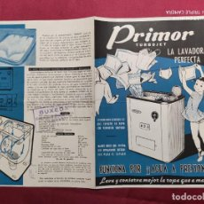 Catálogos publicitarios: CATALOGO ORIGINAL. DIPTICO. PRIMOR TURBOJET. LA LAVADORA PERFECTA. Lote 288566163
